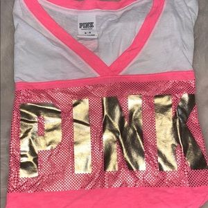 Pink and gold v neck cut t shirt